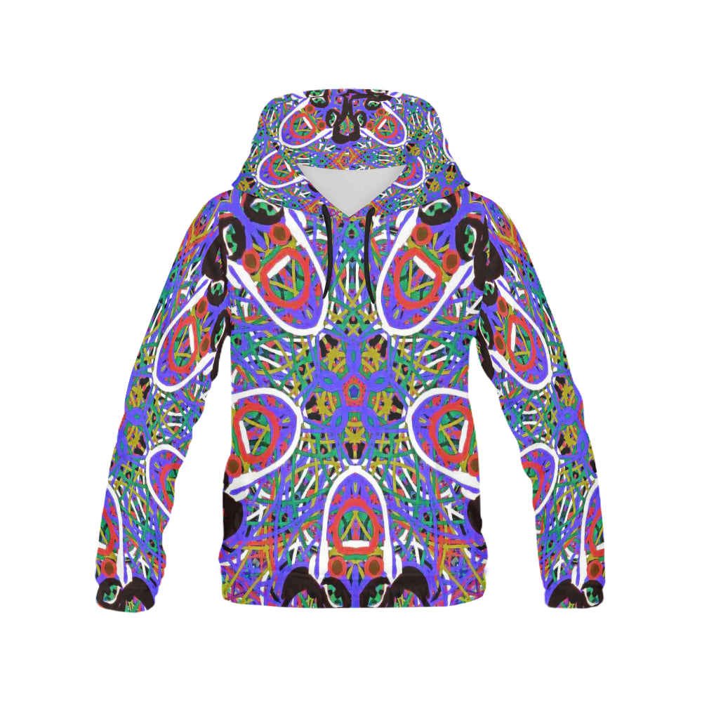Thleudron Women's Happy All Over Print Hoodie for Women (USA Size) (Model H13) - Thleudron