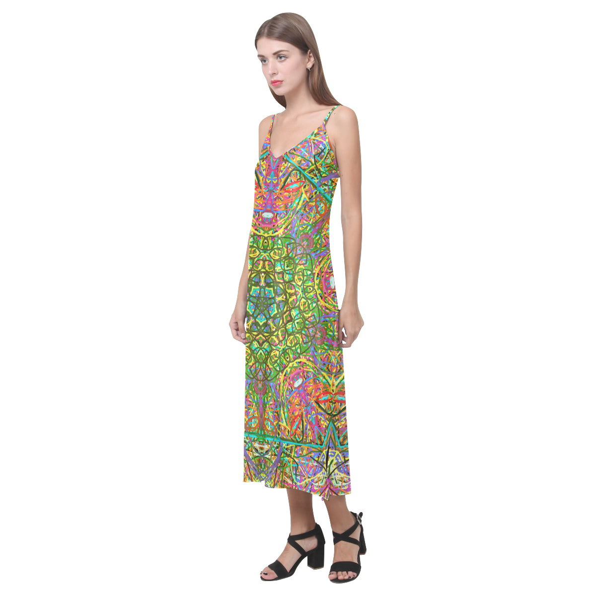 Thleudron Women's Mangshan V-Neck Open Fork Long Dress(Model D18) - Thleudron