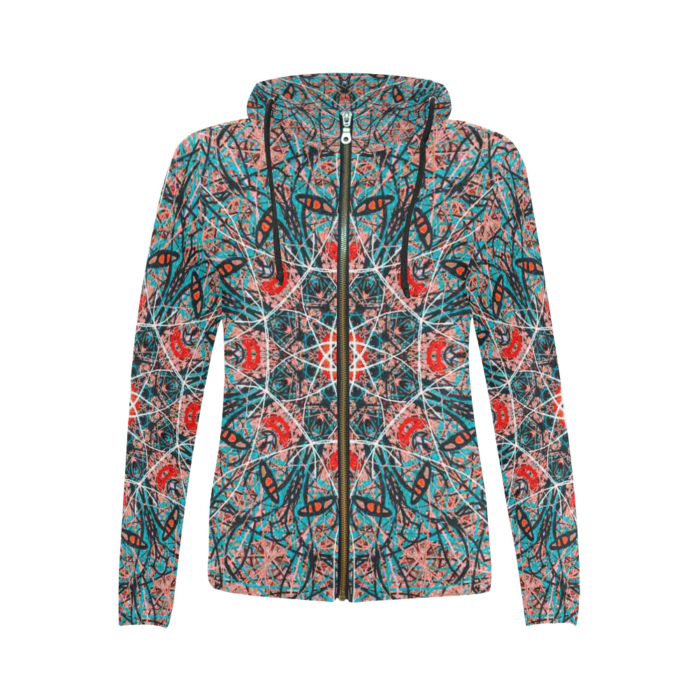 Thleudron Agave All Over Print Full Zip Hoodie for Women (Model H14)