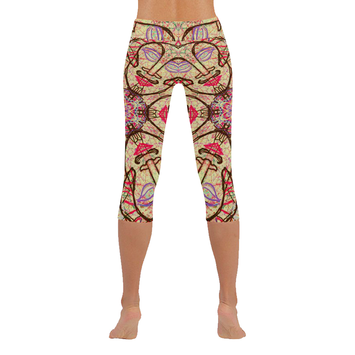 Thleudron Mystic Low Rise Capri Leggings (Invisible Stitch) (Model L08) - Thleudron