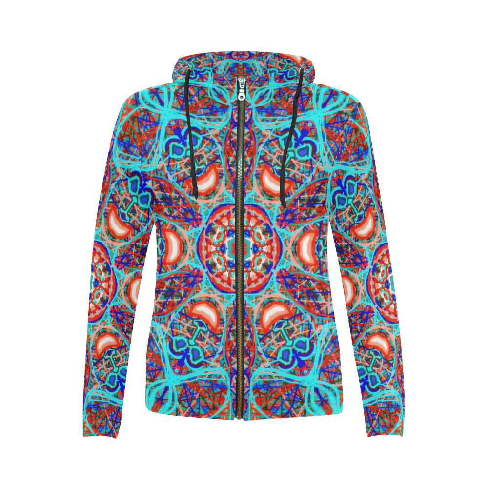 Thleudron Aladin All Over Print Full Zip Hoodie for Women (Model H14)