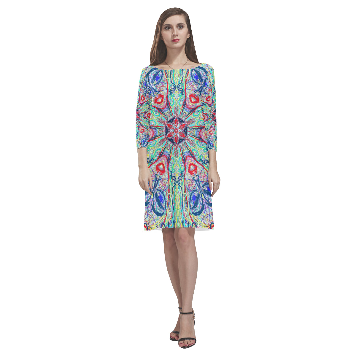 Thleudron Nicanora Rhea Loose Round Neck Dress(Model D22) - Thleudron