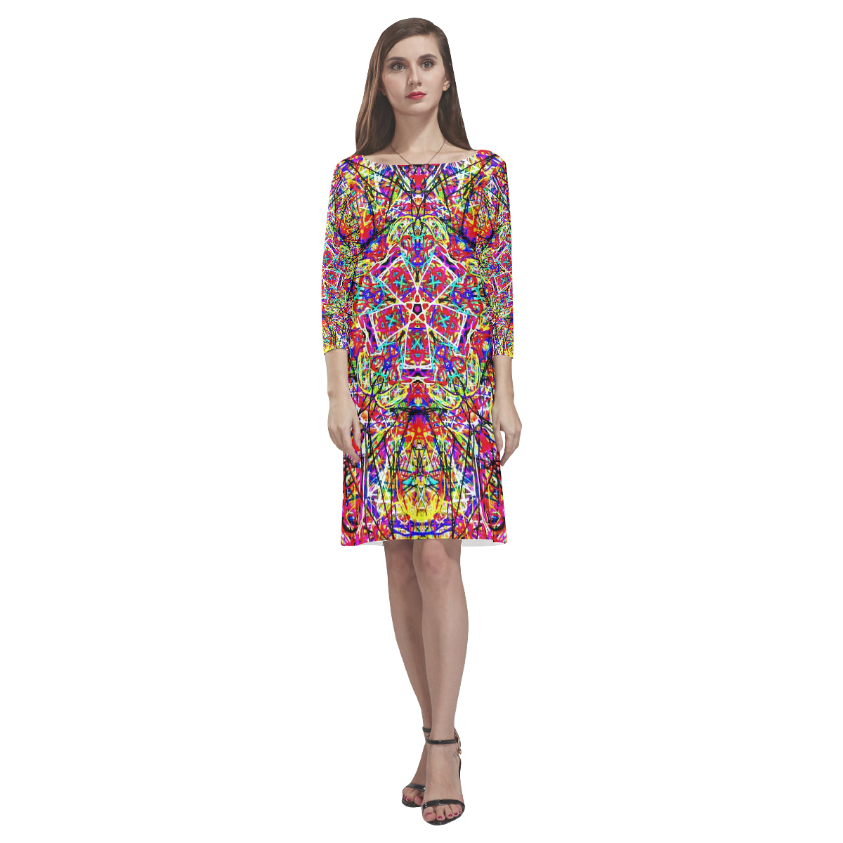 Thleudron Women's Wind Power Rhea Loose Round Neck Dress(Model D22) - Thleudron