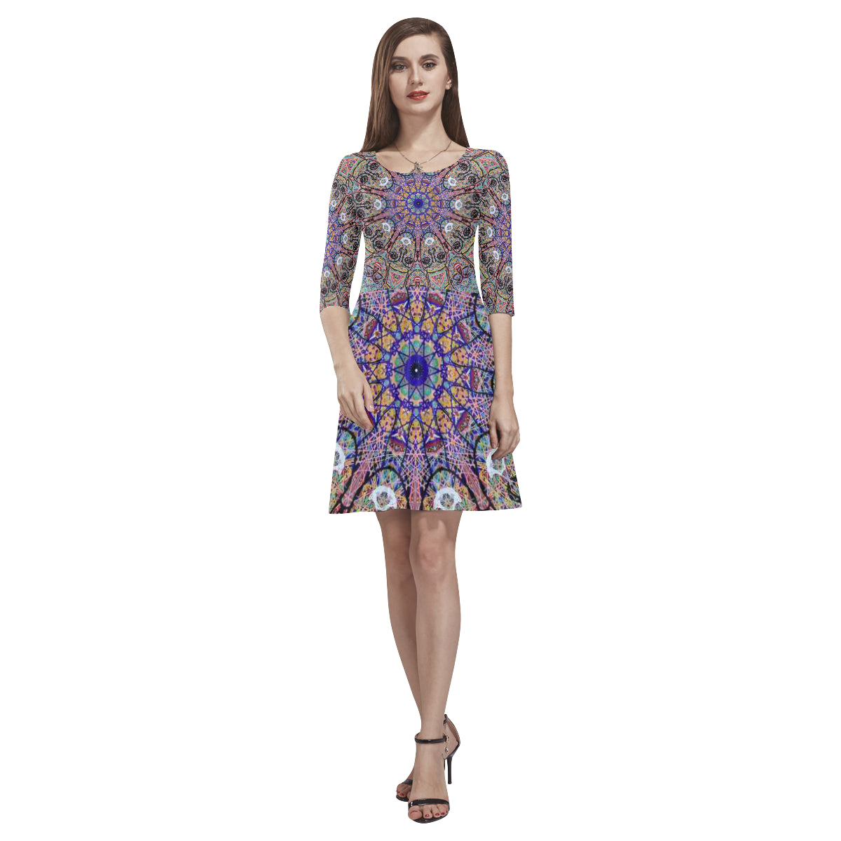 Thleudron Indra Tethys Half-Sleeve Skater Dress(Model D20) - Thleudron