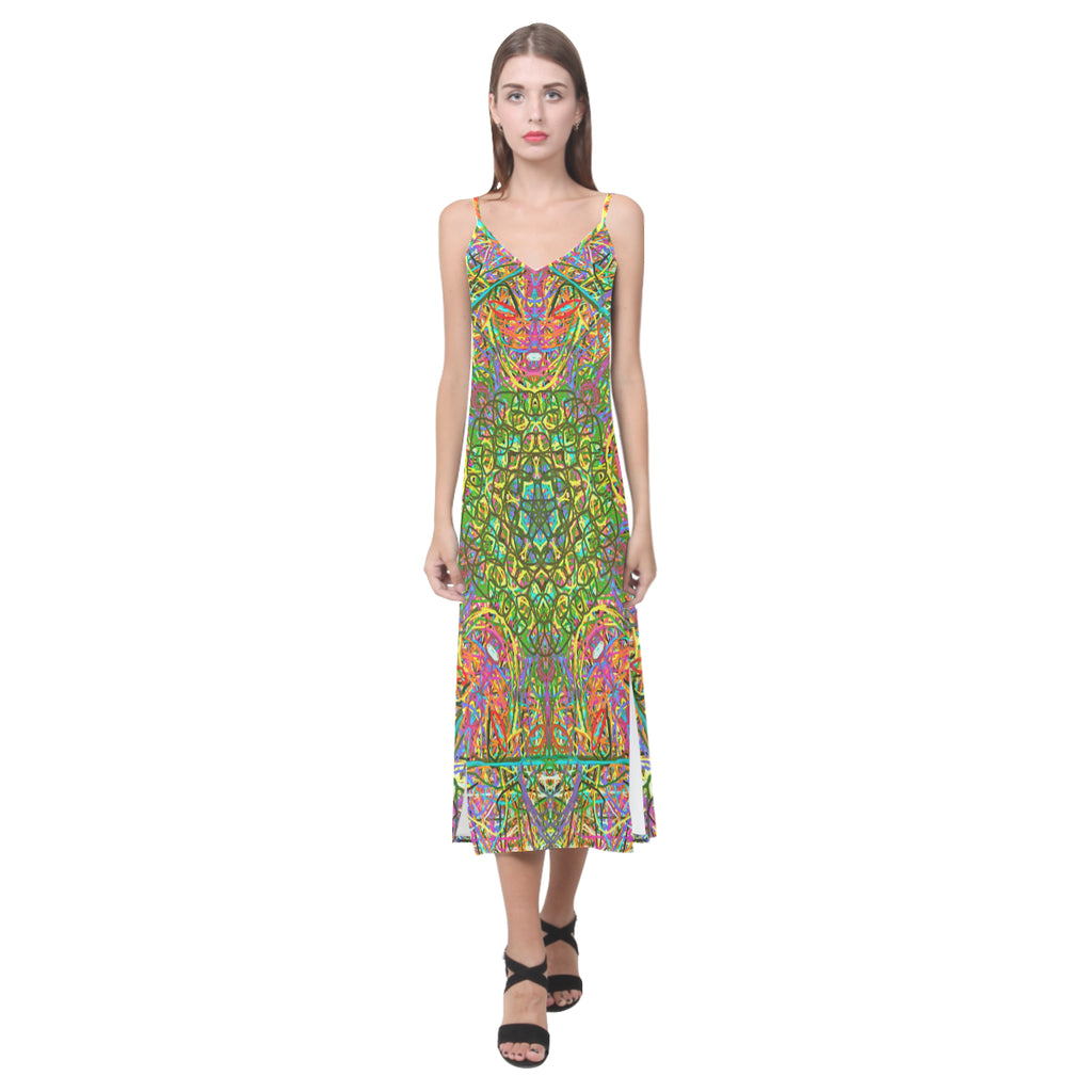Thleudron Women's Mangshan V-Neck Open Fork Long Dress(Model D18)