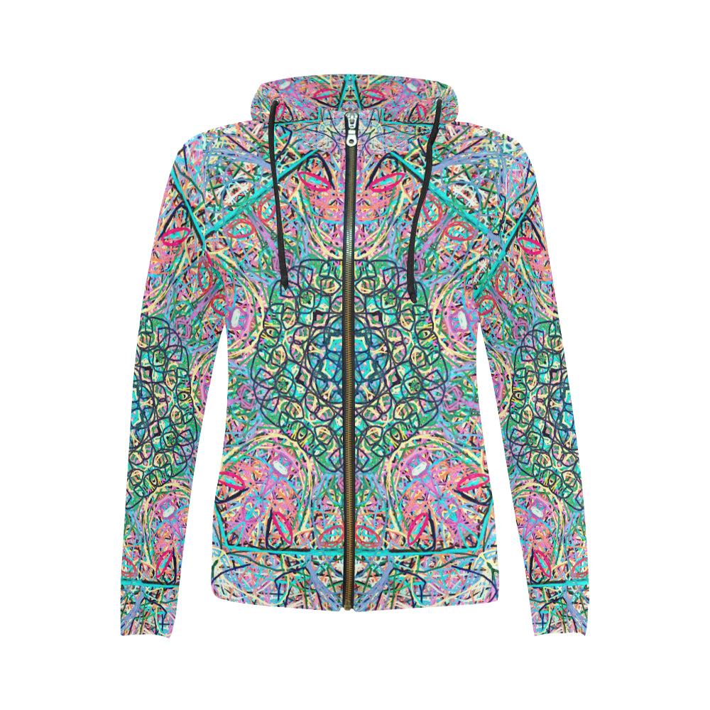 Thleudron Women's Mangshan All Over Print Full Zip Hoodie for Women (Model H14)
