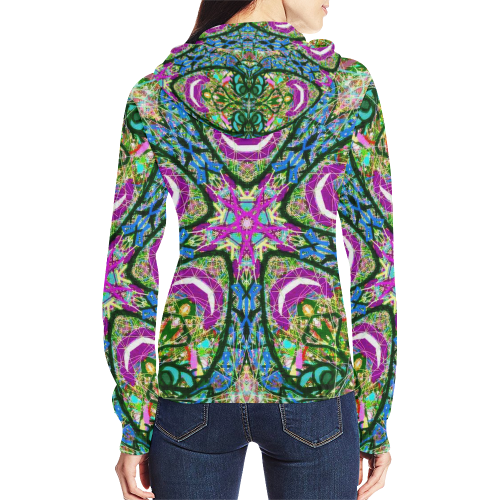 Thleudron Virtue All Over Print Full Zip Hoodie for Women (Model H14) - Thleudron