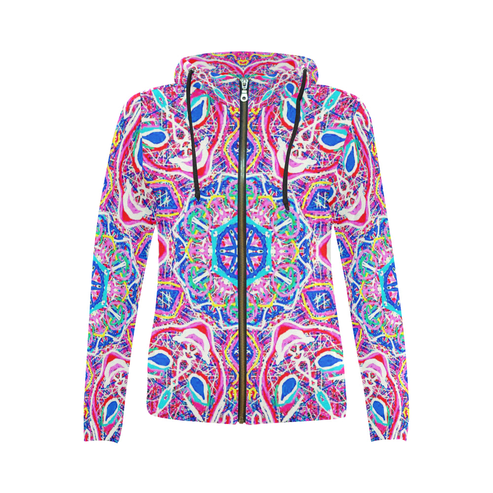 Thleudron Venice All Over Print Full Zip Hoodie for Women (Model H14) - Thleudron