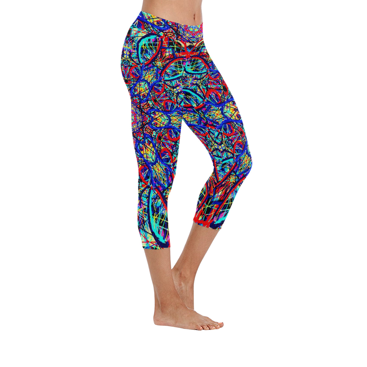 Thleudron Visha New Low Rise Capri Leggings (Flatlock Stitch) (Model L09) - Thleudron
