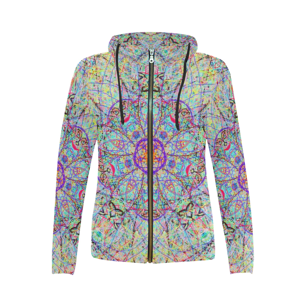 Thleudron Elfs All Over Print Full Zip Hoodie for Women (Model H14)