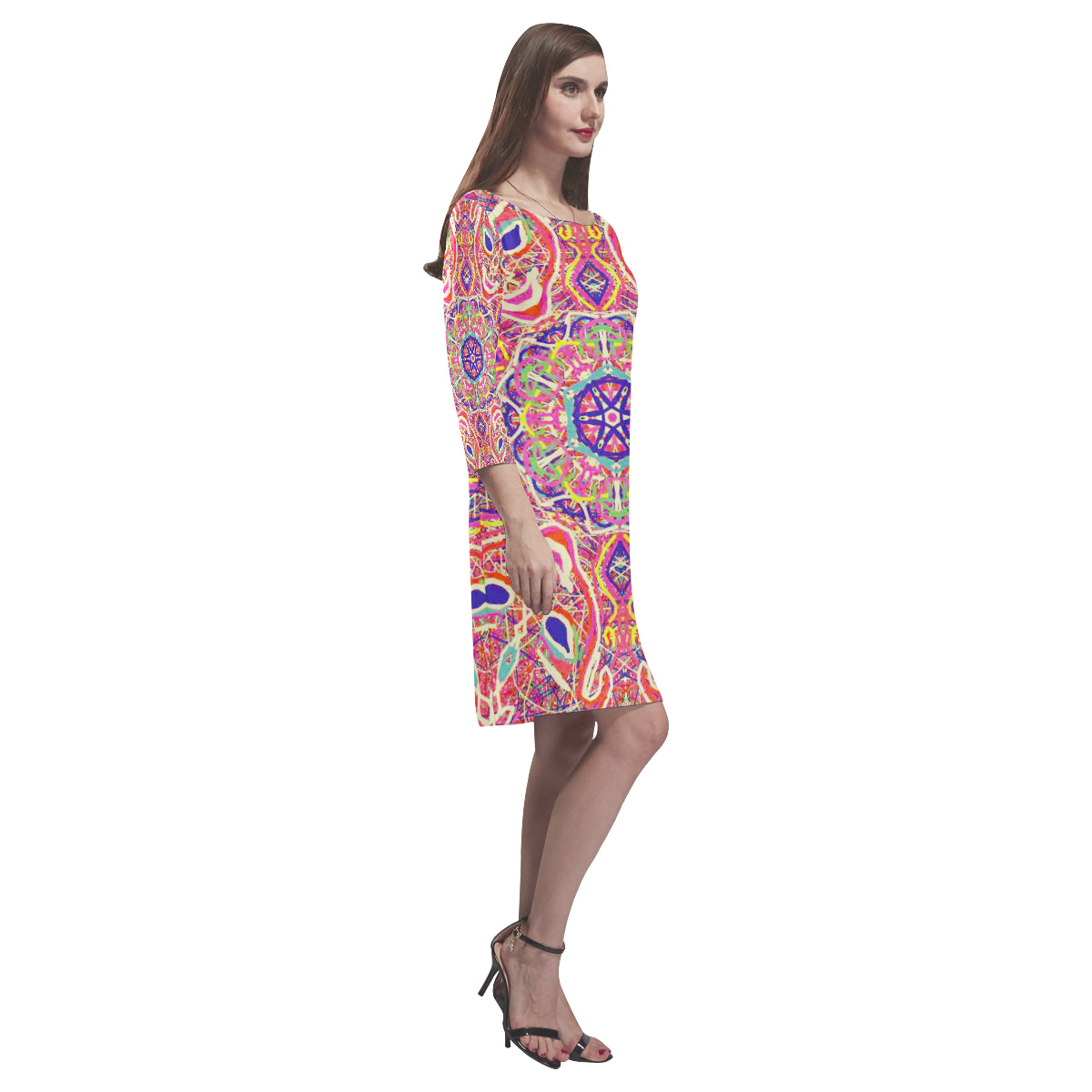 Thleudron Women's Venice Rhea Loose Round Neck Dress(Model D22) - Thleudron