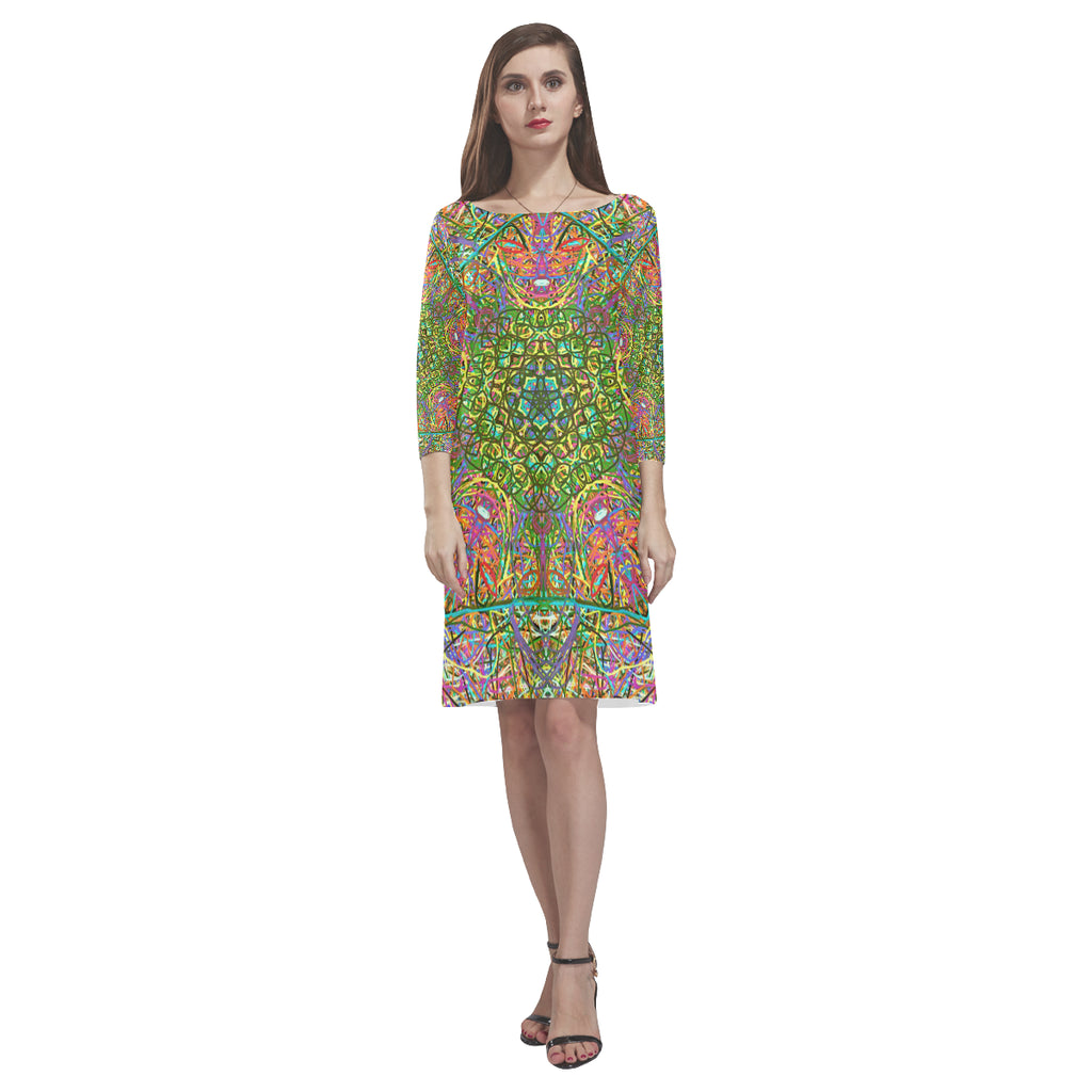 Thleudron Women's Mangshan Rhea Loose Round Neck Dress(Model D22)