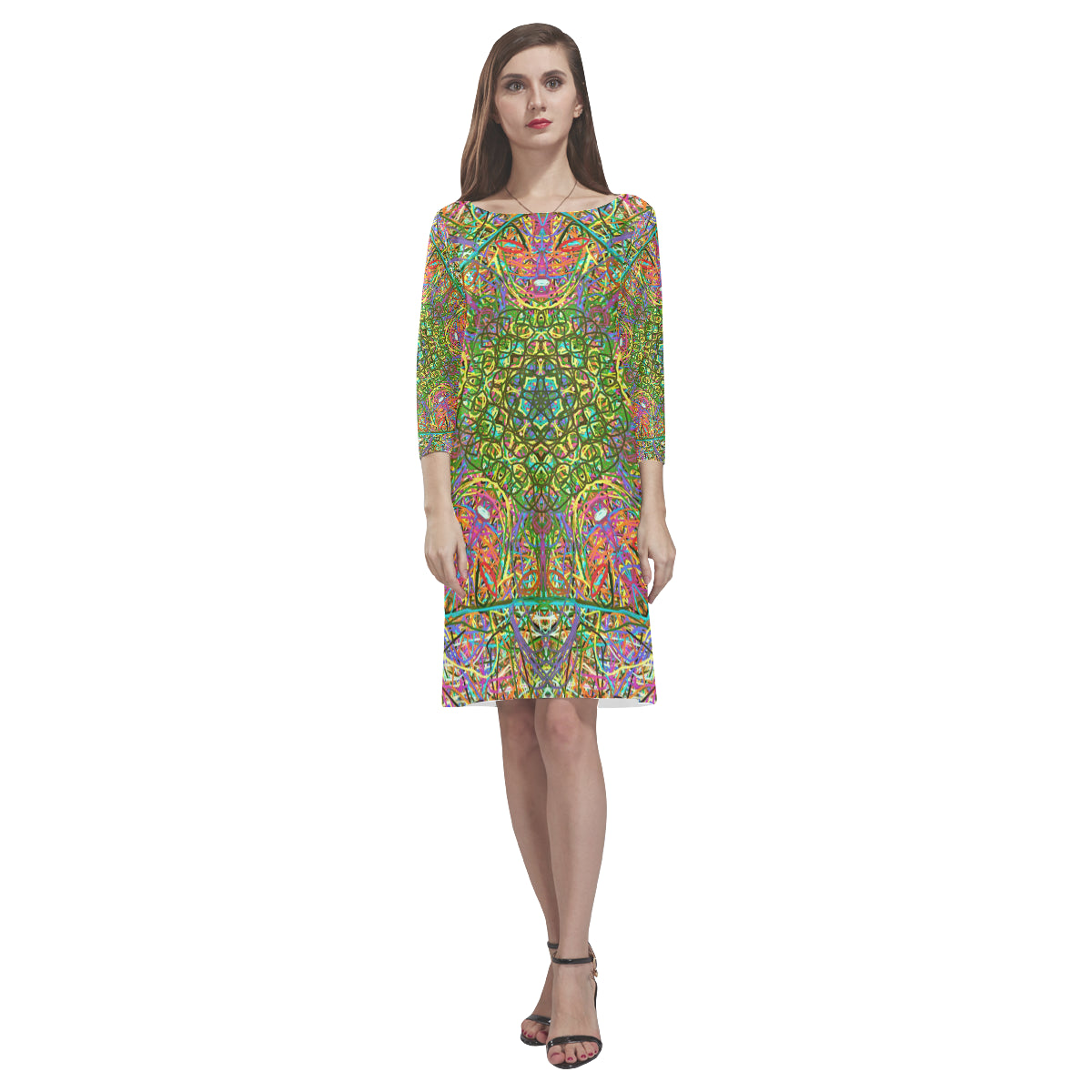 Thleudron Women's Mangshan Rhea Loose Round Neck Dress(Model D22) - Thleudron