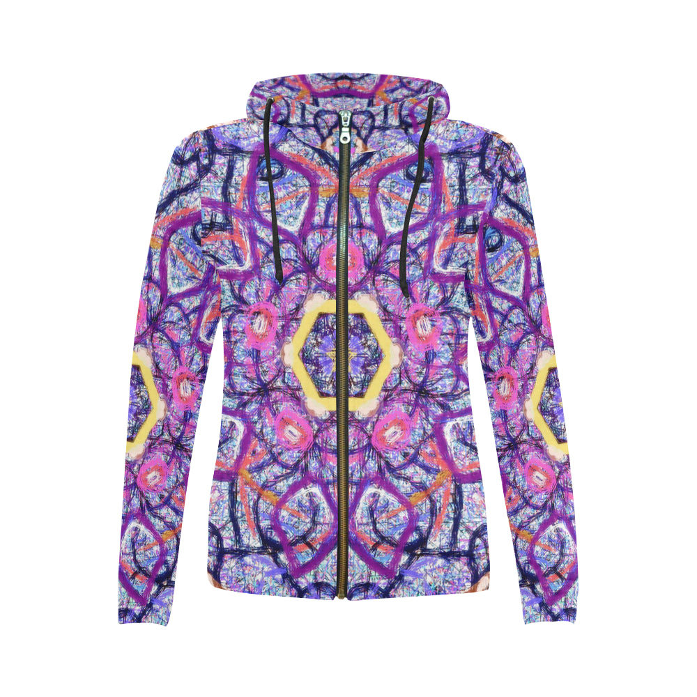 Thleudron Women's Royalty All Over Print Full Zip Hoodie for Women (Model H14) - Thleudron