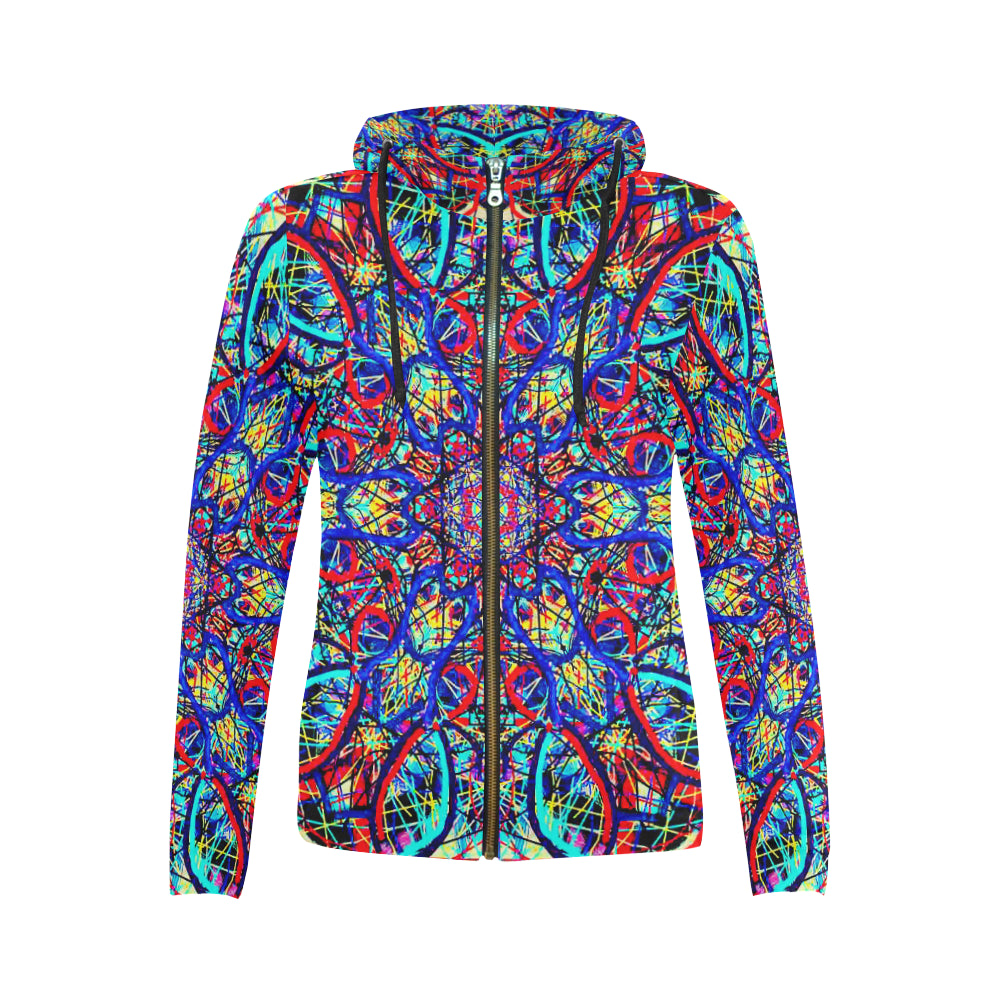 Thleudron Visha All Over Print Full Zip Hoodie for Women (Model H14) - Thleudron