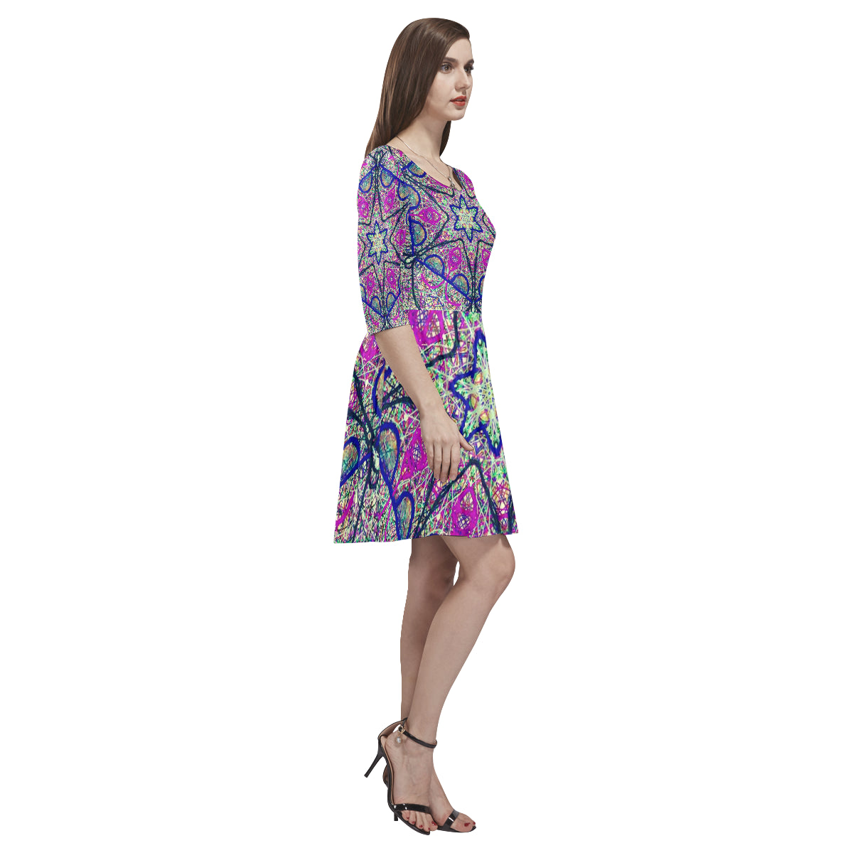 Thleudron Cipriana Tethys Half-Sleeve Skater Dress(Model D20) - Thleudron