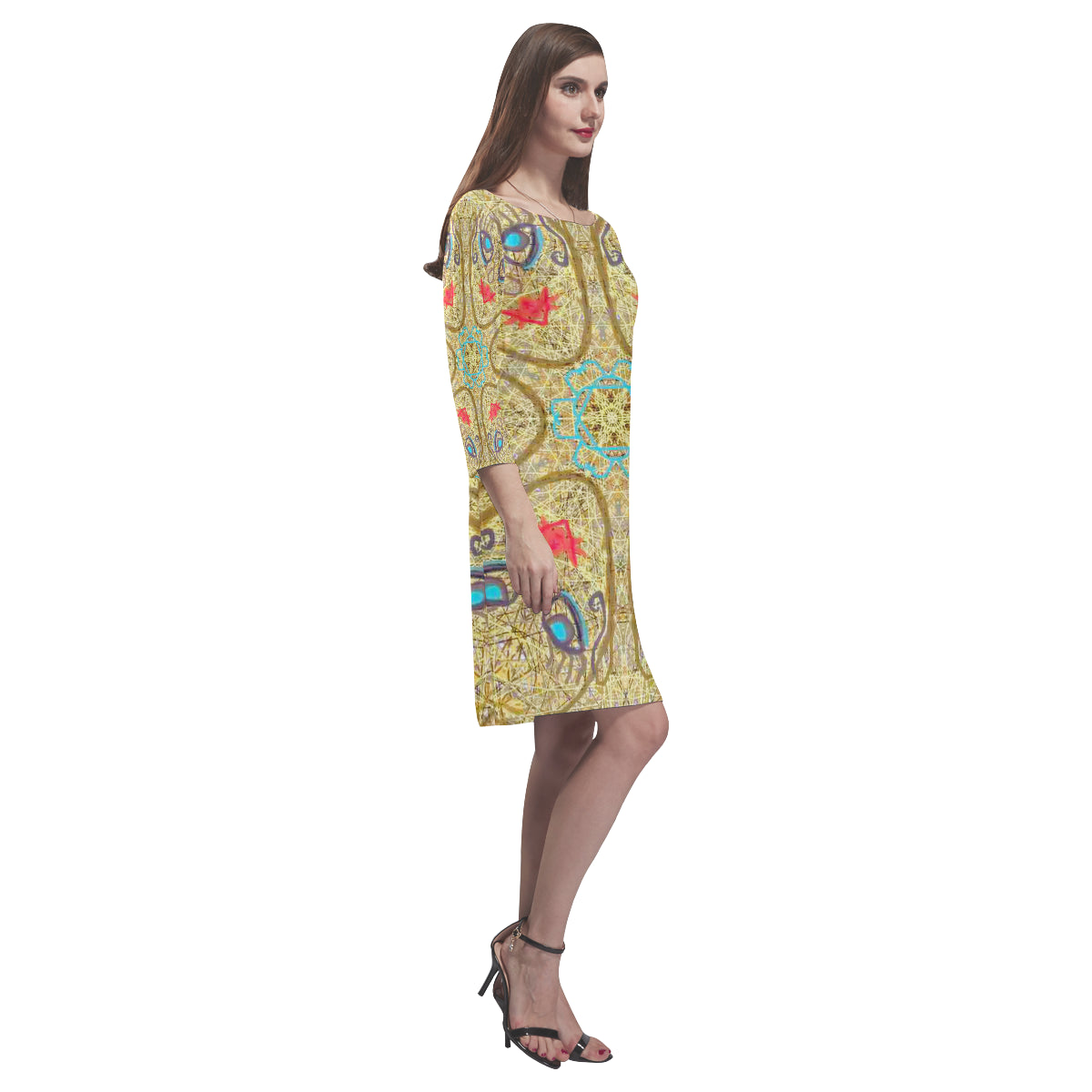 Thleudron Women's Star Rhea Loose Round Neck Dress(Model D22) - Thleudron