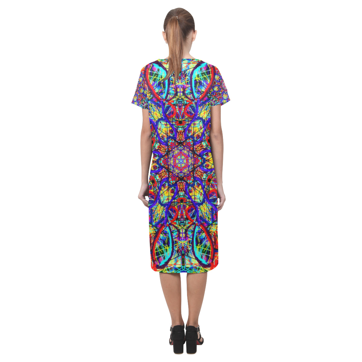 Thleudron Women's Visha Short Sleeves Casual Dress(Model D14) - Thleudron
