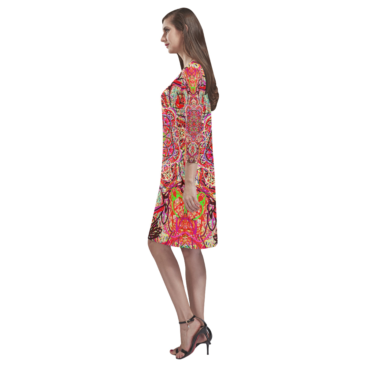 Thleudron Women'sThe Ring Rhea Loose Round Neck Dress(Model D22) - Thleudron
