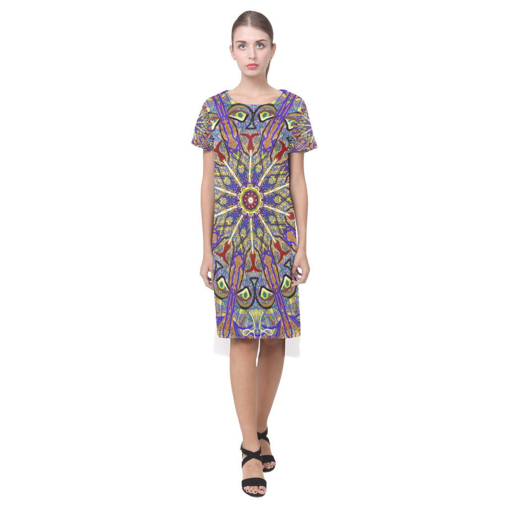 Thleuedron Thoth Short Sleeves Casual Dress(Model D14)
