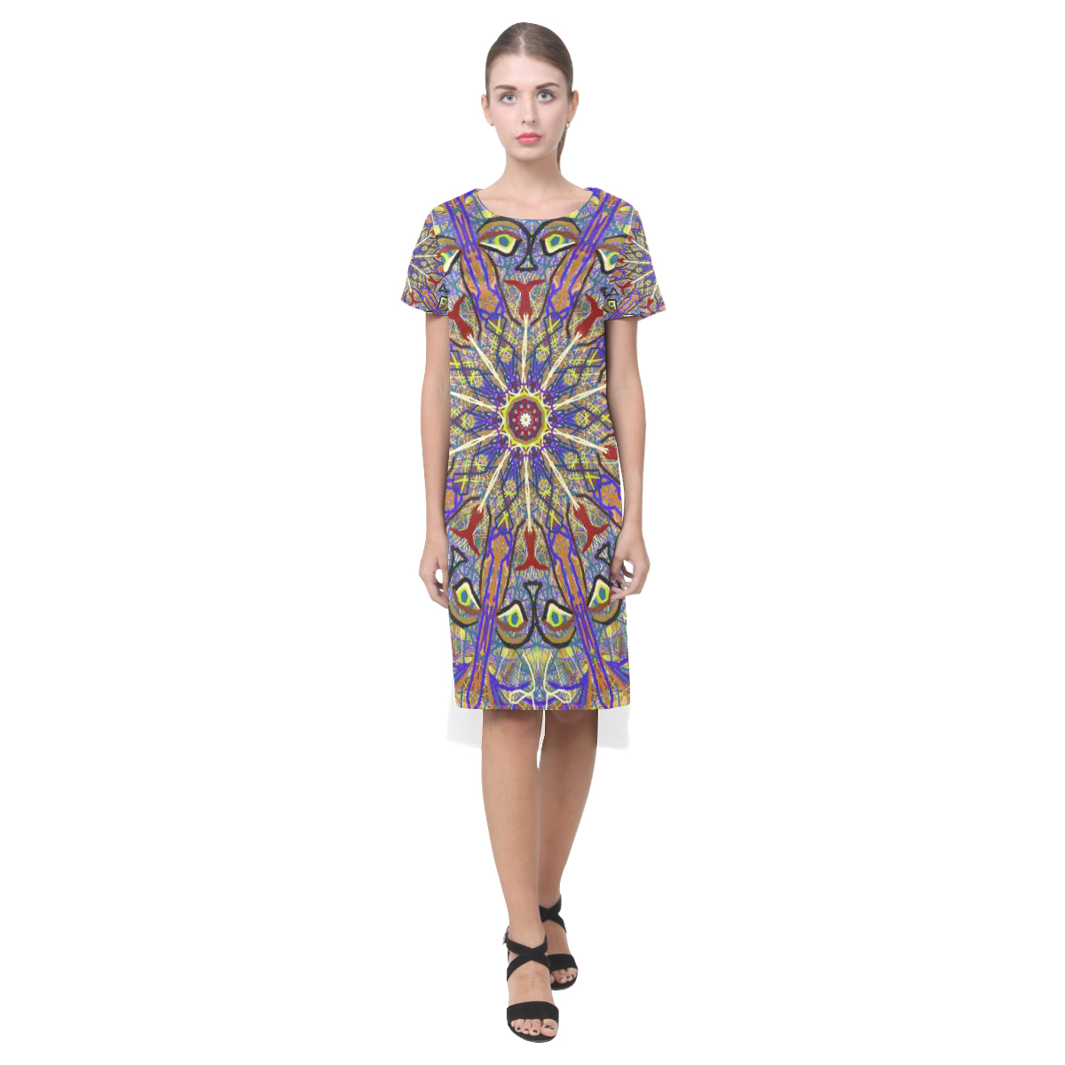 Thleuedron Thoth Short Sleeves Casual Dress(Model D14) - Thleudron