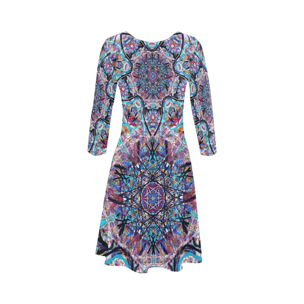 Thleudron Women's  Dream Catcher 3/4 Sleeve Sundress (D23) - Thleudron