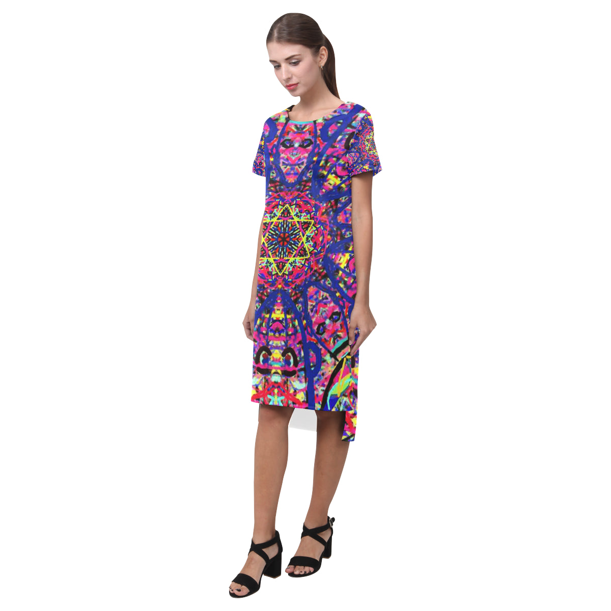 Thleudron Women's David Short Sleeves Casual Dress(Model D14) - Thleudron