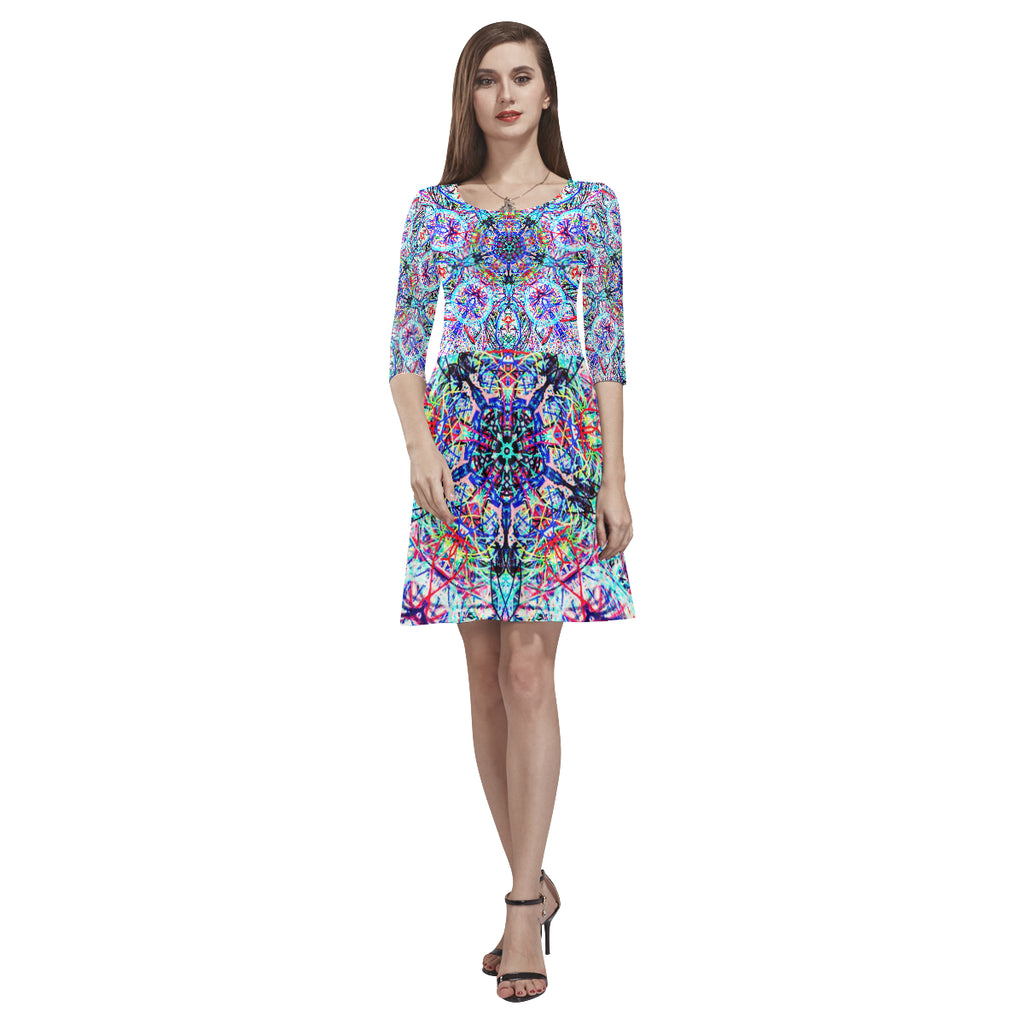Thleudron Women's Tomcat Tethys Half-Sleeve Skater Dress(Model D20)
