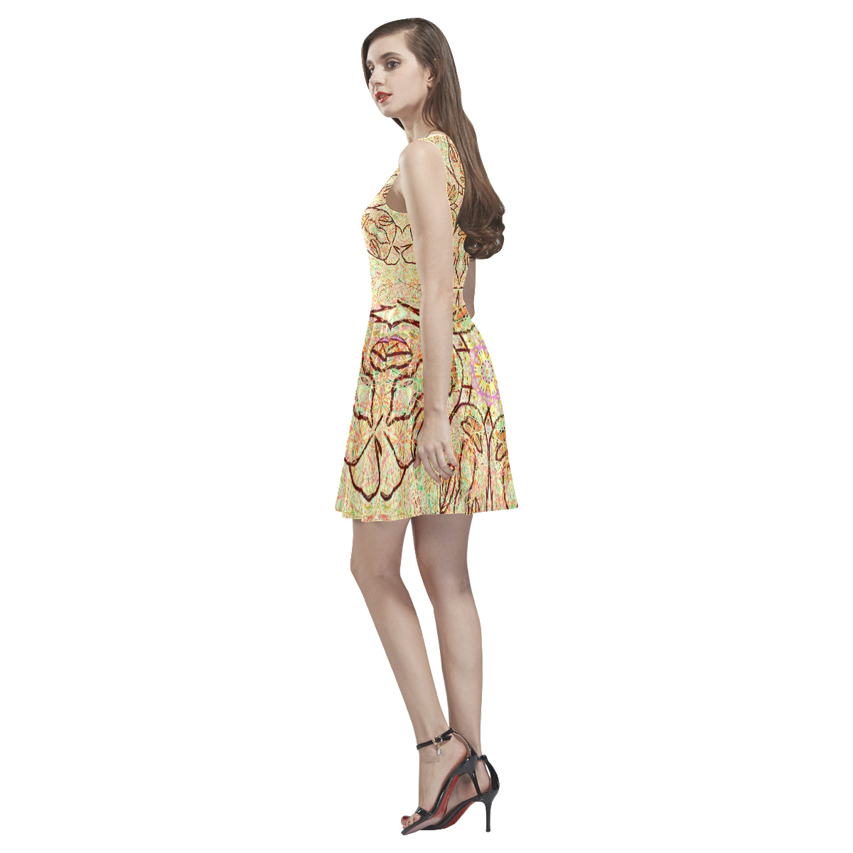 Thleudron  Persephone Thea Sleeveless Skater Dress(Model D19) - Thleudron