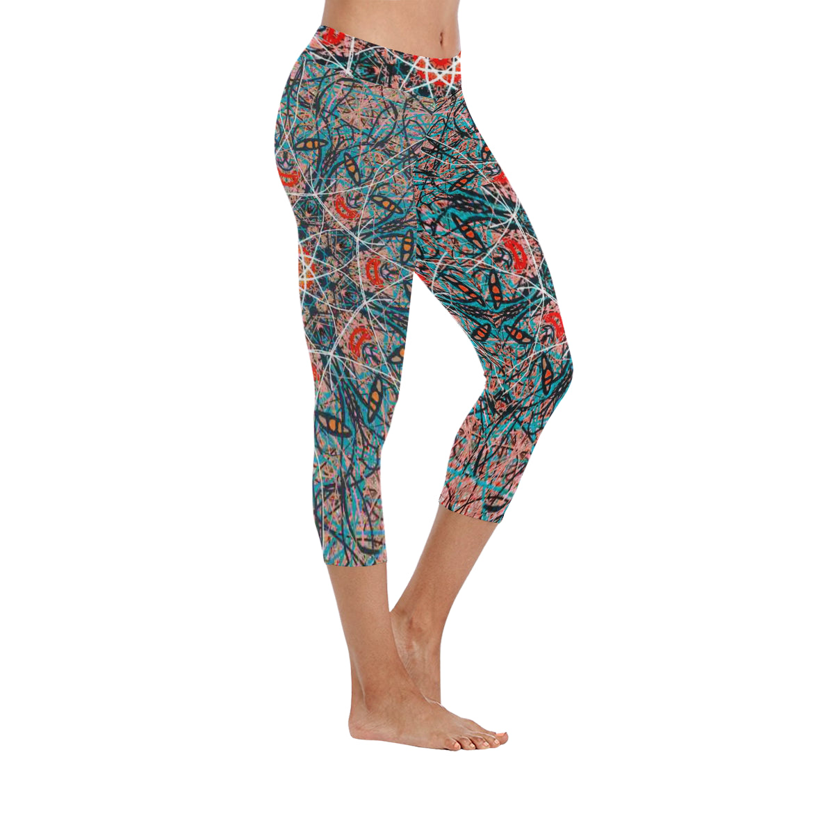 Thleudron Agave New Low Rise Capri Leggings (Flatlock Stitch) (Model L09) - Thleudron