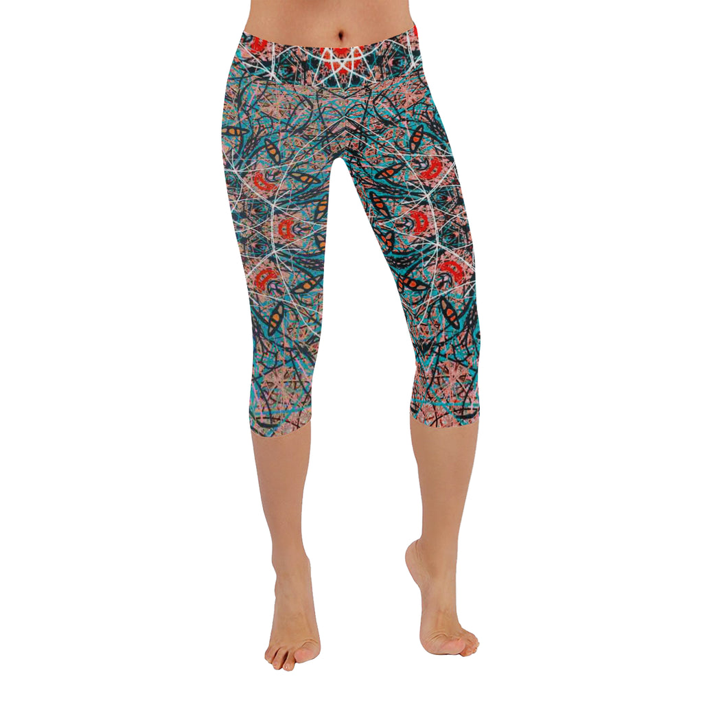 Thleudron Agave New Low Rise Capri Leggings (Flatlock Stitch) (Model L09)
