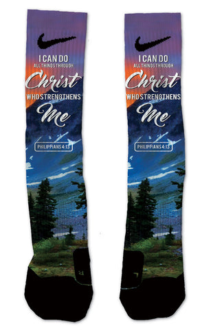 Custom Philippians 4:13 NIKE ELITE Socks - Seth's Socks
