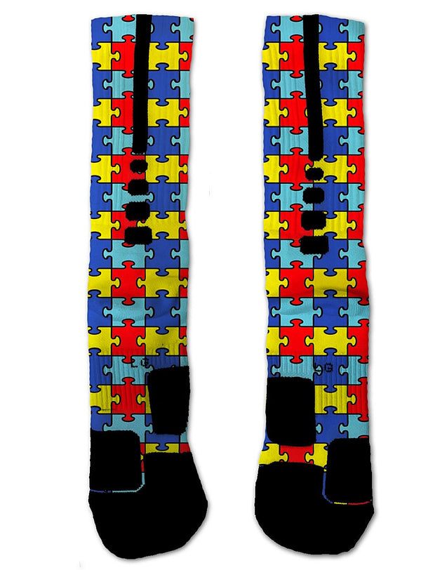 Nike Elite Autism Awareness NIKE ELITE Socks - Custom Designed Socks - Seth's Socks