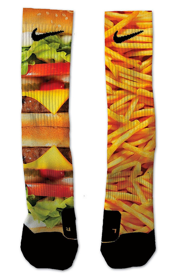 Nike Elite Burger & Fries NIKE ELITE Socks - Custom Designed Socks - Seth's Socks