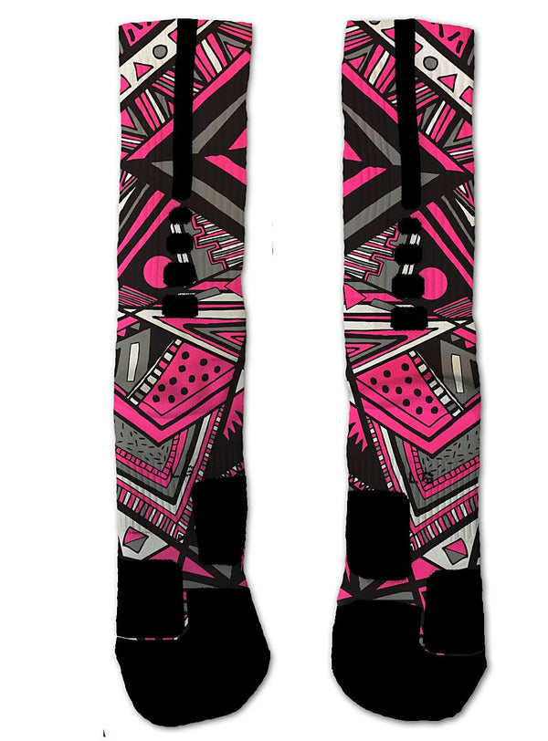 Nike Elite Breast Cancer Awareness Tribal NIKE ELITE Socks - Custom Designed Socks - Seth's Socks