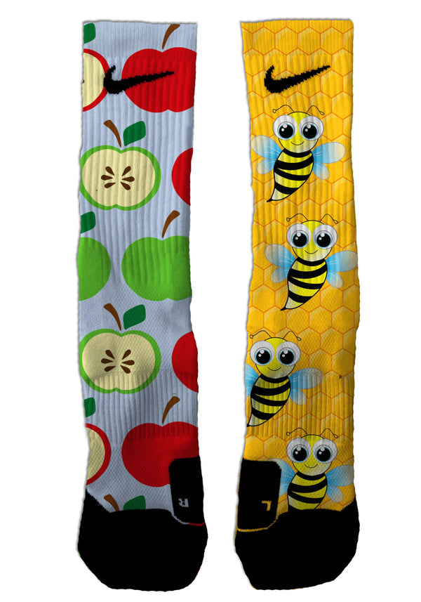Nike Elite Apples & Bees NIKE ELITE Socks - Custom Designed Socks - Seth's Socks