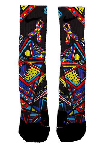 Custom Autism Awareness Tribal NIKE ELITE Socks - Seth's Socks