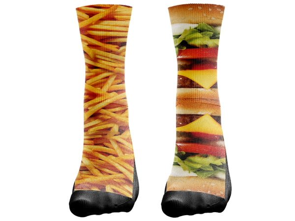 Food collection Burger & Fries Socks - Custom Designed Socks - Seth's Socks