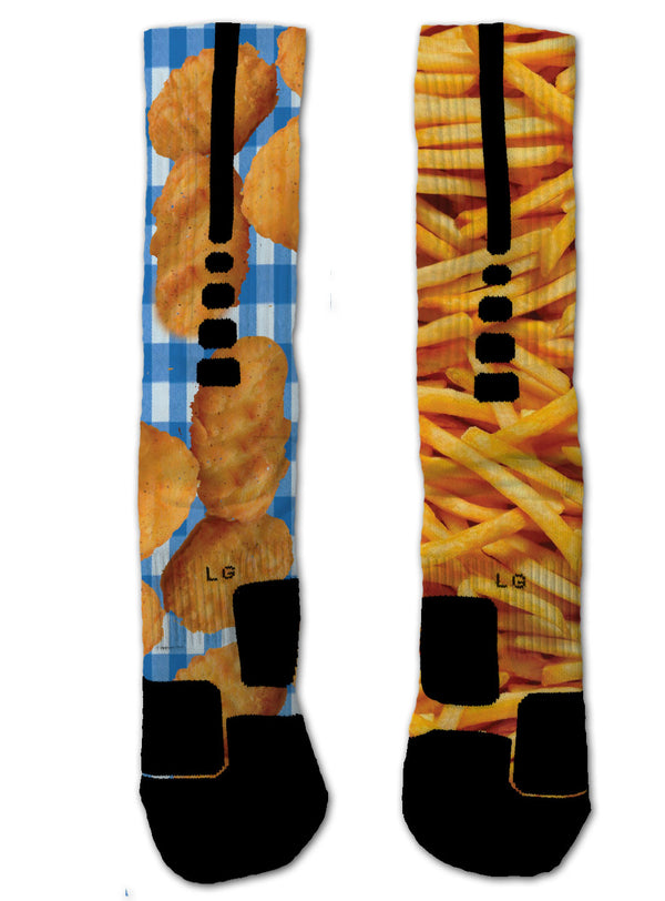 Nike Elite Chicken Nuggets & Fries NIKE ELITE Socks - Custom Designed Socks - Seth's Socks