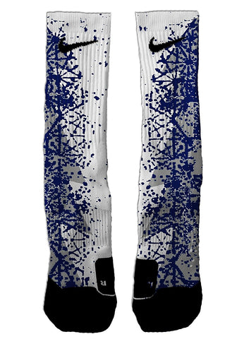 Custom Blue Splatter NIKE ELITE Socks - Seth's Socks