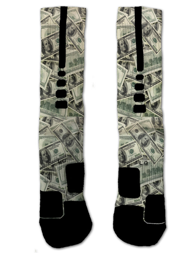 Nike Elite $100 Bills NIKE ELITE Socks - Custom Designed Socks - Seth's Socks