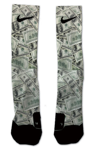 Custom $100 Bills NIKE ELITE Socks - Seth's Socks