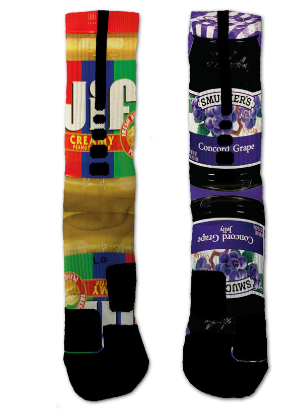 Nike Elite Grape Jelly & Peanut Butter NIKE ELITE Socks - Custom Designed Socks - Seth's Socks