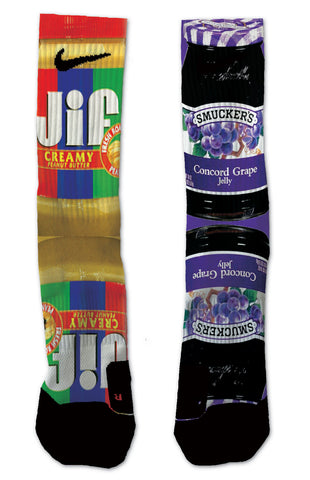 Custom Grape Jelly & Peanut Butter NIKE ELITE Socks - Seth's Socks