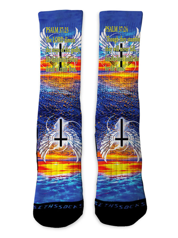 Psalms 37:23-24 Socks - Custom Designed Socks - Seth's Socks