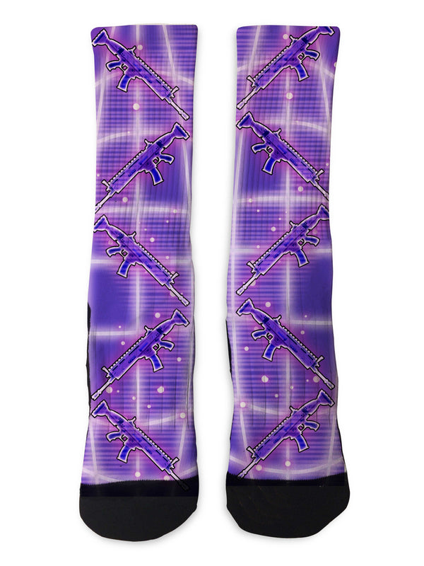 Purple Scar Battle Royale Socks - Custom Designed Socks - Seth's Socks