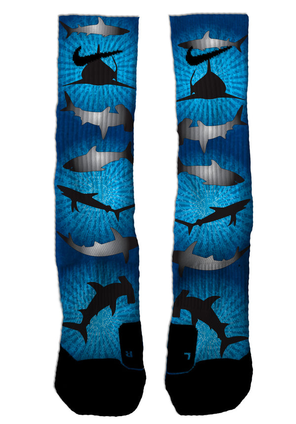 Nike Elite Sharks NIKE ELITE Socks - Custom Designed Socks - Seth's Socks