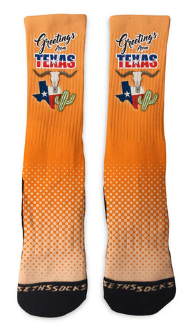 Custom Texas Greetings Socks - Seth's Socks