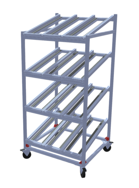Flow Rack, T-Slot, UHMW Slides, Casters