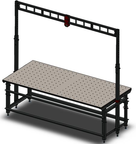 Weld Table, Adjustable Height, Overhead Hoist